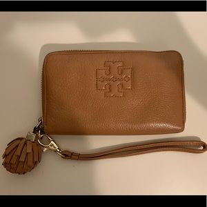 Brown Tory Burch Wallet with Wristlet